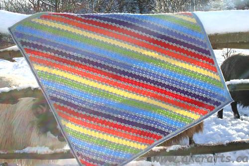 Rainbow in the Mist - Corner to Corner Baby blanket